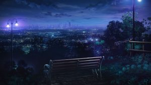 3840x2160 Wallpaper bench, night city, overview
