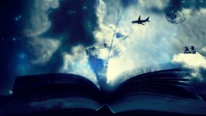 3840x2160 Wallpaper book, clouds, fantasy, bicycle, airplane