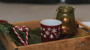 3840x2160 Wallpaper box, cup, candy canes, branch, new year, christmas