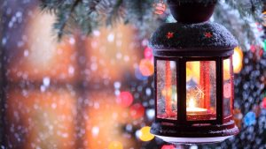 3840x2160 Wallpaper candle, torch, branch, snow, winter, snowflakes, christmas tree