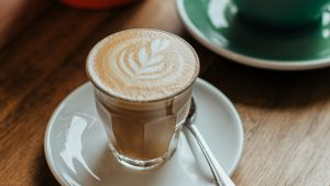 3840x2160 Wallpaper cappuccino, drink, glass, table, wooden