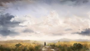 3840x2160 Wallpaper girl, loneliness, alone, silhouette, road, canvas, paint