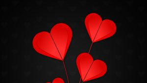 3840x2160 Wallpaper hearts, red, black background