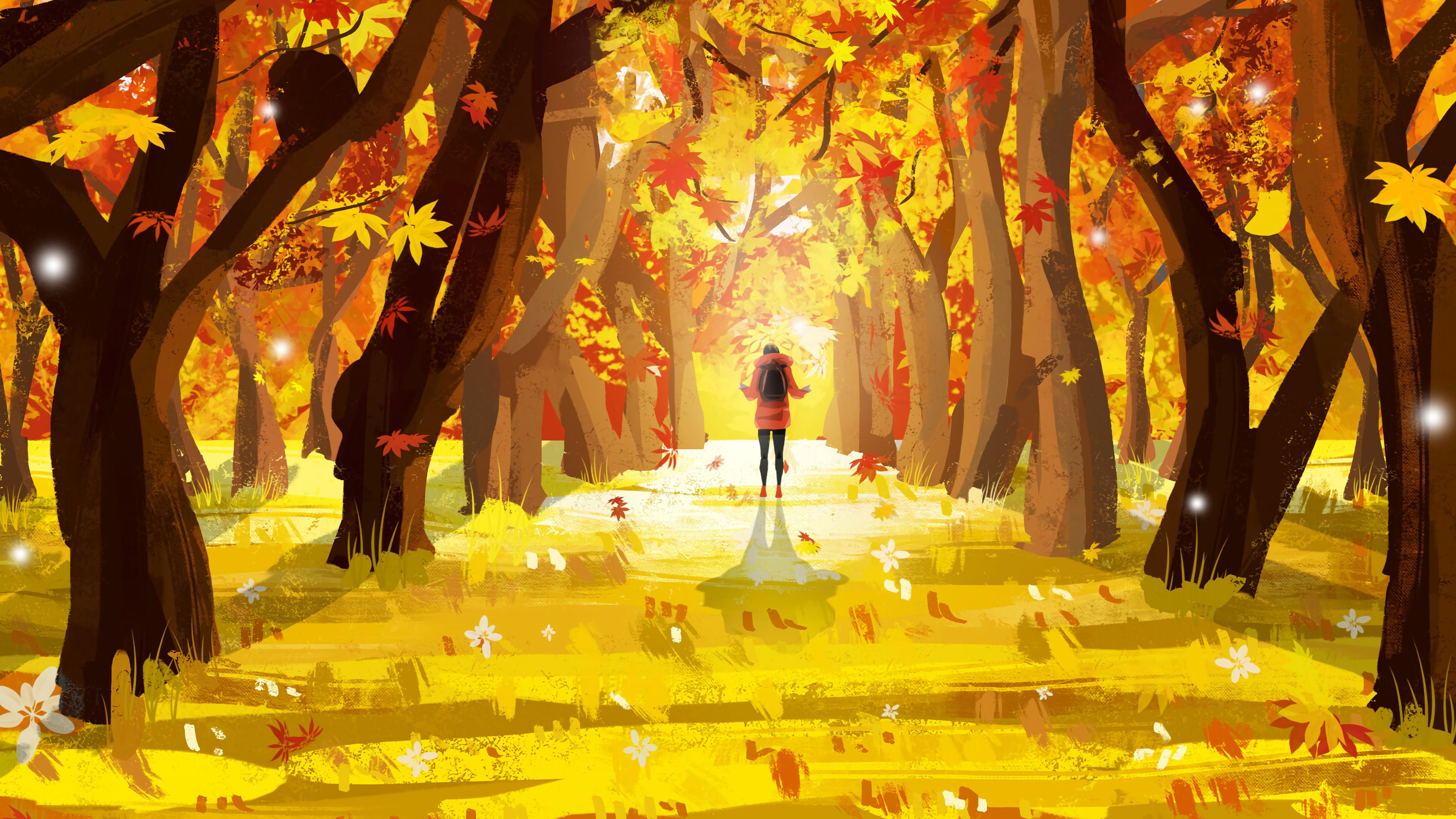 3840x2160 Wallpaper lonely, autumn, leaves, art