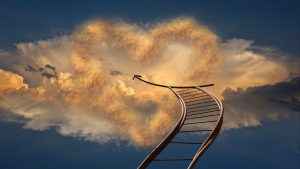 3840x2160 Wallpaper staircase, sky, arrow, clouds, direction