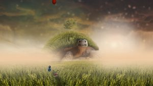 3840x2160 Wallpaper turtle, photoshop, child, bicycle, field, grass