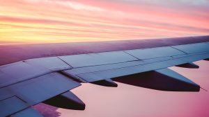 3840x2160 Wallpaper airplane, wing, view, sky, dusk