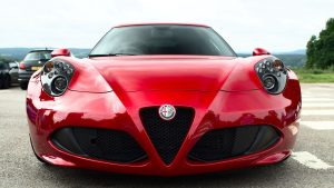 3840x2160 Wallpaper alfa romeo, red, front view