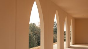 3840x2160 Wallpaper arches, building, architecture, rays, light