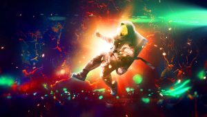 3840x2160 Wallpaper astronaut, flash, bright, colorful, sparks
