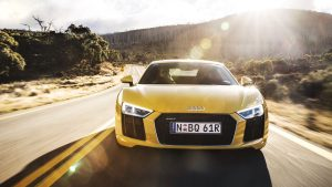 3840x2160 Wallpaper audi, r8, v10, yellow, front view