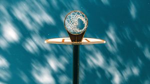 3840x2160 Wallpaper basketball ring, basketball, grid, starry sky, clouds
