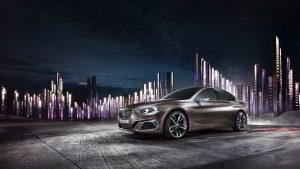 3840x2160 Wallpaper bmw, compact, side view, night