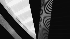 3840x2160 Wallpaper building, architecture, bottom view, black and white, bw