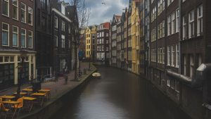3840x2160 Wallpaper canal, buildings, architecture, amsterdam, netherlands