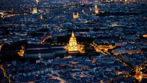 3840x2160 Wallpaper cathedral, city, buildings, lights, france