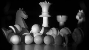 3840x2160 Wallpaper chess, figures, game, black and white, dark