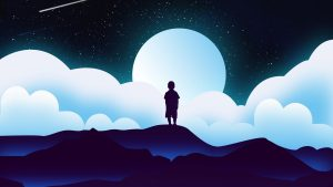 3840x2160 Wallpaper child, silhouette, space, clouds, moon, vector