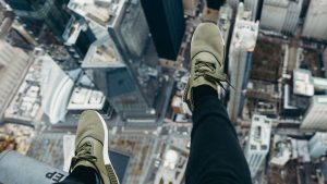 3840x2160 Wallpaper city, aerial view, legs, overview, buildings, height
