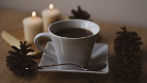3840x2160 Wallpaper coffee, cup, coffee beans, pine cones, candles