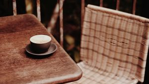 3840x2160 Wallpaper coffee, cup, table, chair, wooden