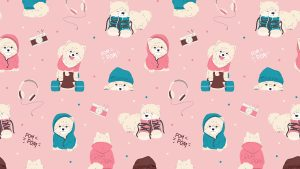 3840x2160 Wallpaper dogs, texture, lettering, cute, funny