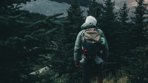 3840x2160 Wallpaper man, hike, camping, forest, trees, nature