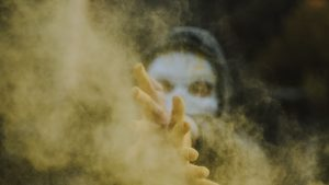3840x2160 Wallpaper mask, hands, colored smoke, particles