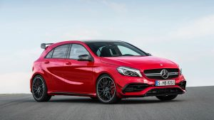 3840x2160 Wallpaper mercedes, amg, a-class, w176, red, side view