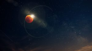 3840x2160 Wallpaper moon, eclipse, radiance, glare, starry sky, astronomy, space
