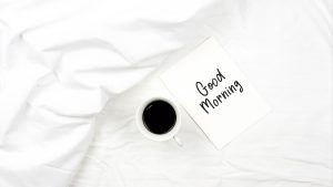 3840x2160 Wallpaper morning, coffee, cup, inscription, white