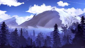 3840x2160 Wallpaper mountains, peaks, forest, clouds, art