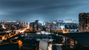3840x2160 Wallpaper night city, aerial view, architecture, buildings, lights, thunderstorm