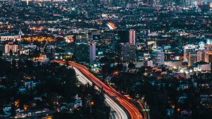 3840x2160 Wallpaper night city, city, aerial view, buildings, cityscape