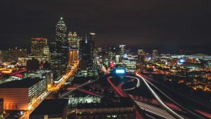 3840x2160 Wallpaper night city, city lights, aerial view, night, architecture