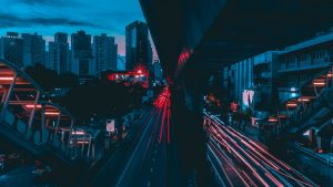 3840x2160 Wallpaper night city, city lights, traffic, thailand, buildings, architecture