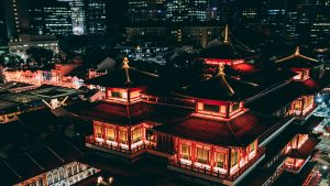 3840x2160 Wallpaper pagoda, roofs, architecture, china, night city, aerial view