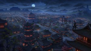3840x2160 Wallpaper pagodas, buildings, architecture, night, aerial view, art