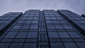 3840x2160 Wallpaper perspective, building, glass, view from below