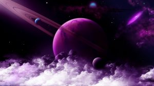 3840x2160 Wallpaper planet, ring, purple, clouds, space
