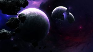 3840x2160 Wallpaper planets, asteroids, fragments, flash, space