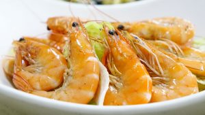 3840x2160 Wallpaper shrimps, cooked, appetizing