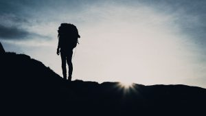 3840x2160 Wallpaper silhouette, tourist, hill, backpack