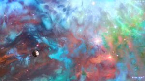 3840x2160 Wallpaper space, planet, universe, clouds, stars, colorful