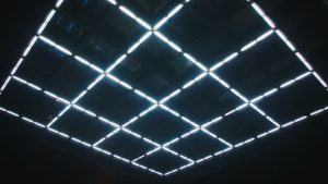 3840x2160 Wallpaper squares, neon, ceiling, glow