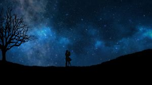 3840x2160 Wallpaper starry sky, couple, love, silhouettes