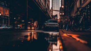 3840x2160 Wallpaper street, city, reflection, puddle, cars, buildings, bicycles