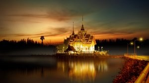 3840x2160 Wallpaper temple, buddhism, architecture, lighting, asia