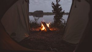 3840x2160 Wallpaper tent, campfire, camping, fire, sparks
