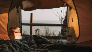 3840x2160 Wallpaper tent, camping, nature, view